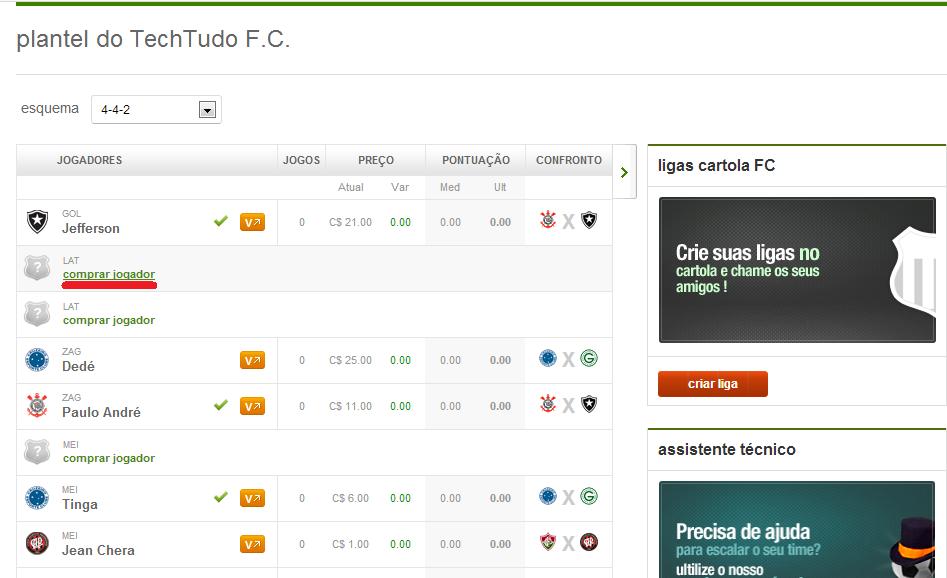 """Clique em """"comprar jogador"""" para escolher qual atleta vai para seu Cartola (Foto: Reprodução/Cartola FC)"""