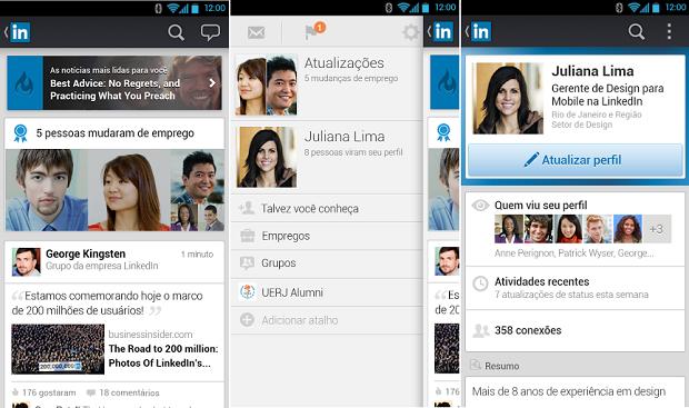 Linkedin ganhou uma nova versão para Android (Foto: Divulgação)