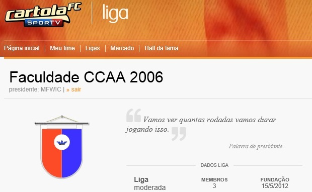 Na página da liga, há a opção de sair, abaixo do nome dela (Foto: Reprodução Thiago Barros)