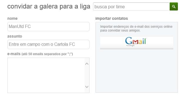 Nesta tela, você convida amigos para a liga (Foto: Reprodução Thiago Barros) (Foto: Nesta tela, você convida amigos para a liga (Foto: Reprodução Thiago Barros))