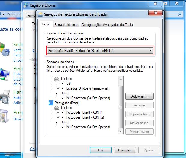 A opção Português (Brasil -ABNT2) é a configuração-padrão (Foto: Reprodução/Edivaldo Brito)