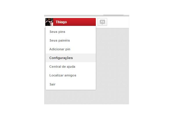 Acessando as configurações do Pinterest (Foto: Reprodução/Thiago Barros)
