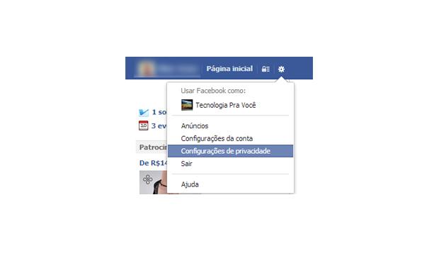 Configurações de privacidade do Facebook (Foto: Aline Jesus/Reprodução)