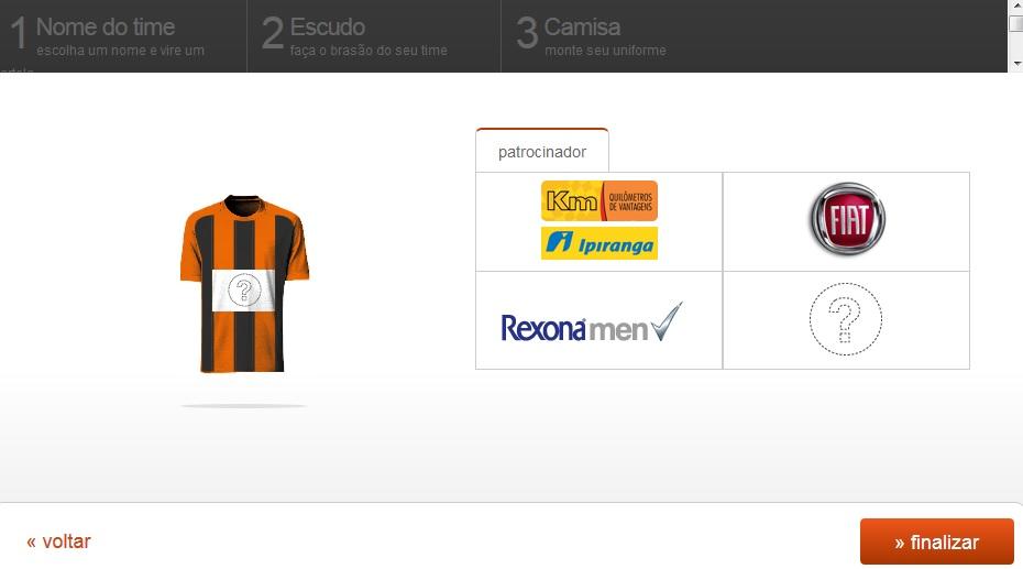 Escolhendo o patrocínio do seu time (Foto: Reprodução)