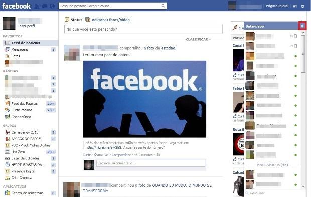 Janela do bate-papo do Facebook (Foto: Reprodução/Lívia Dâmaso)