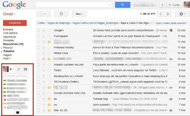 Área do bate-papo no Gmail (Foto: Reprodução/Lívia Dâmaso)