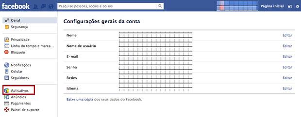 Chegando até a tela de configuração de Aplicativos no Facebook (Imagem: Reprodução / Daniel Pinto)