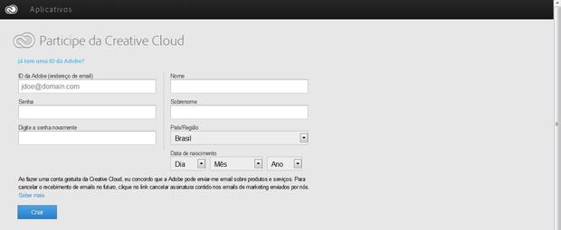 Crie uma conta da Adobe para usufruir do serviço (Foto: Reprodução/Thiago Barros)
