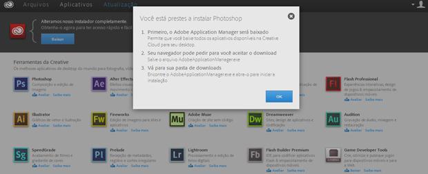 Na aba de aplicativos, você tem acesso a todo o catálogo da Adobe (Foto: Reprodução/Thiago Barros)