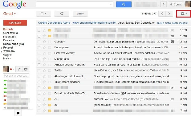 Conta de email do Gmail (Foto: Reprodução/Lívia Dâmaso)