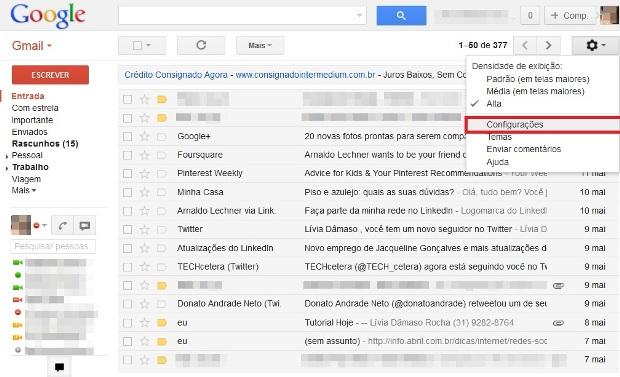 Acesso às configurações do Gmail (Foto: Reprodução/Lívia Dâmaso)