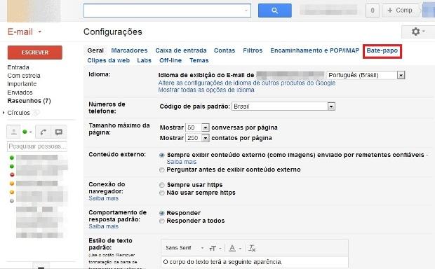 """gCategoria """"Bate- papo"""" das configurações do Gmail (Foto: Reprodução/Lívia Dâmaso)"""