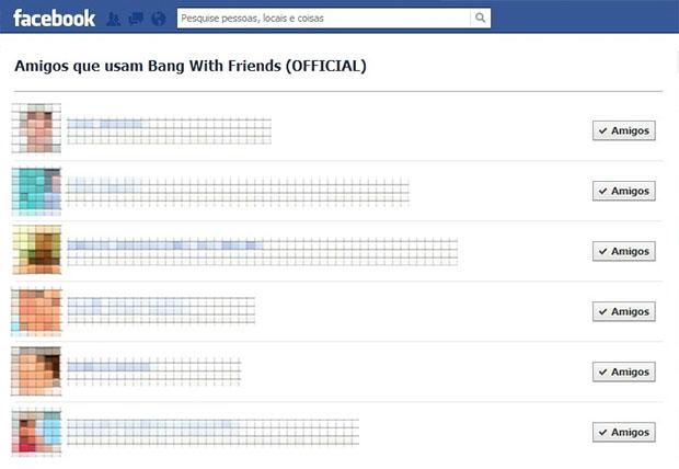 Tela com a lista de amigos que usam o 'Bang With Friends' (Imagem: Reprodução / Daniel Pinto)