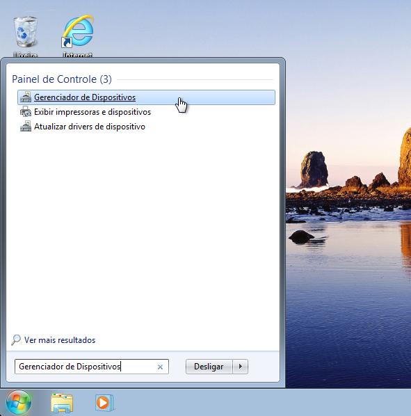 """No Windows 7, digite """"Gerenciador de Dispositivos"""" no menu Iniciar (Foto: Reprodução/Thiago Bittencourt)"""