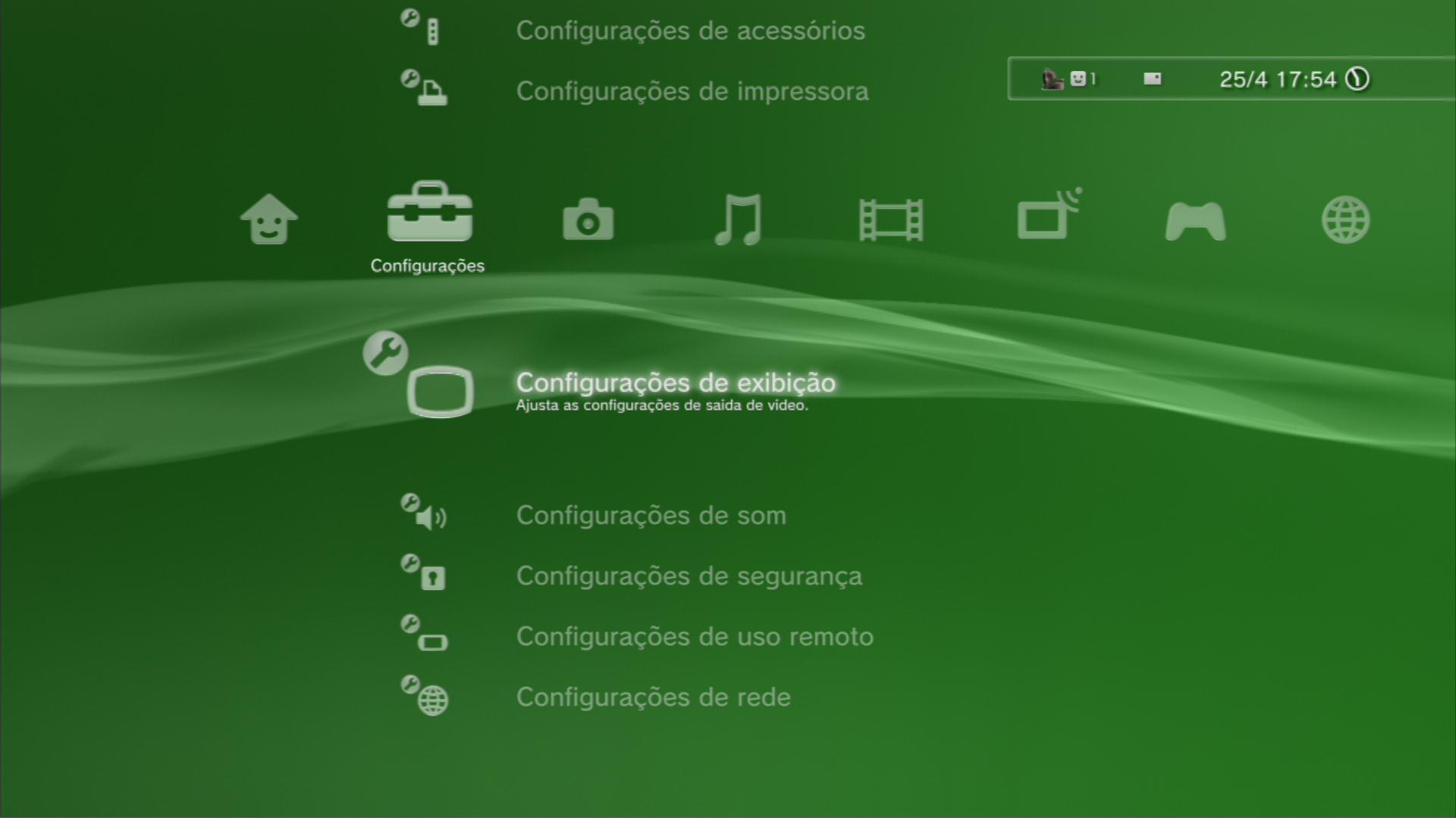 O menu Configurações de exibição revela os formatos suportados. (Foto: Reprodução)