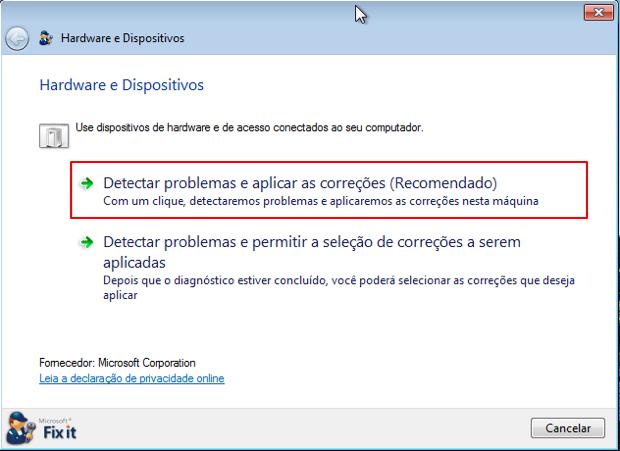 """Clique na opção """"Detectar problemas e aplicar as correções"""" (Foto: Reprodução/Thiago Bittencourt)"""