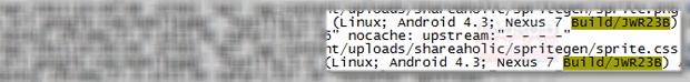 Log mostra a utilização do Android 4.3 (Foto: Reprodução/Android Police)