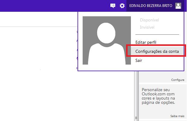 Acessando as configurações da conta no Outlook.com (Foto: Reprodução/Edivaldo Brito)