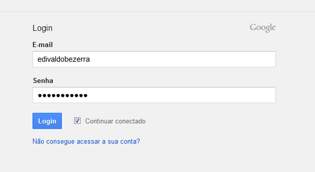 Acessando a conta Google (Foto: Reprodução/Edivaldo Brito)