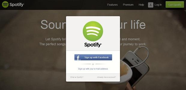 Esta é a tela de cadastro do Spotify (Foto: Reprodução/Thiago Barros)