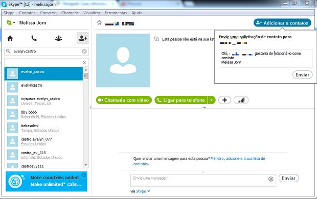 Adicione novos contatos ao Skype utilizando a busca por diretório (Foto: Reprodução / Melissa Cruz)