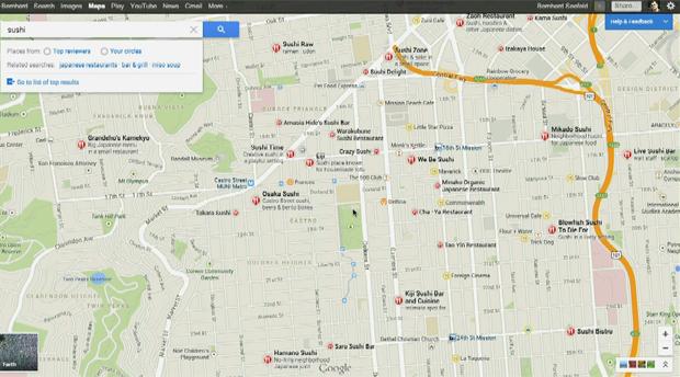 Lugares no Maps têm avaluiação de amigos e usuários em um sistema de cinco estrelas (Foto: Reprodução/ YouTube)