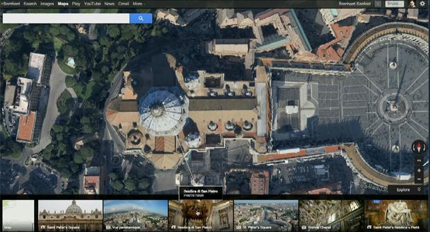 Google Maps permite ver lugares de todos os ângulos, como a Basílica de São Pedro (Foto: Reprodução/ YouTube)