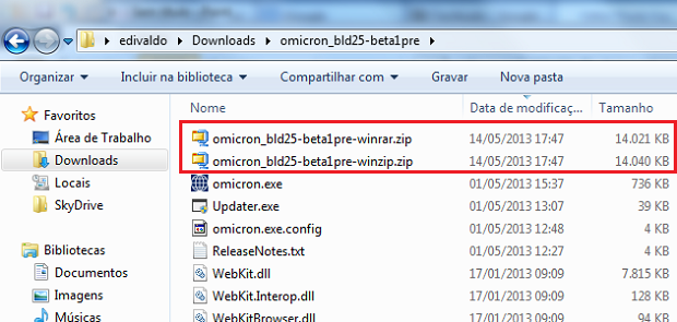 Files created with WinZip and WinRAR (Photo: Playback / Edivaldo Brito)