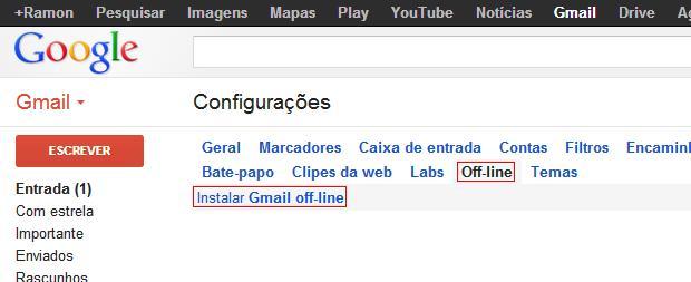 Clique para instalar a extensão do Gmail off-line