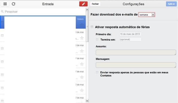 Defina o período de download dos e-mails (Foto: Defina o período de download dos e-mails)