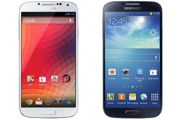 """Galaxy S4 original e """"Google Edition"""" são muito parecidos, mas a diferença está no sistema (Foto: Arte/Divulgação)"""