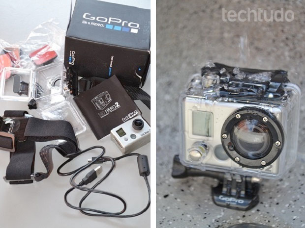 GoPro HD Hero 2 vem equipada com diversos acessórios (Foto: Thiago Barros/TechTudo)