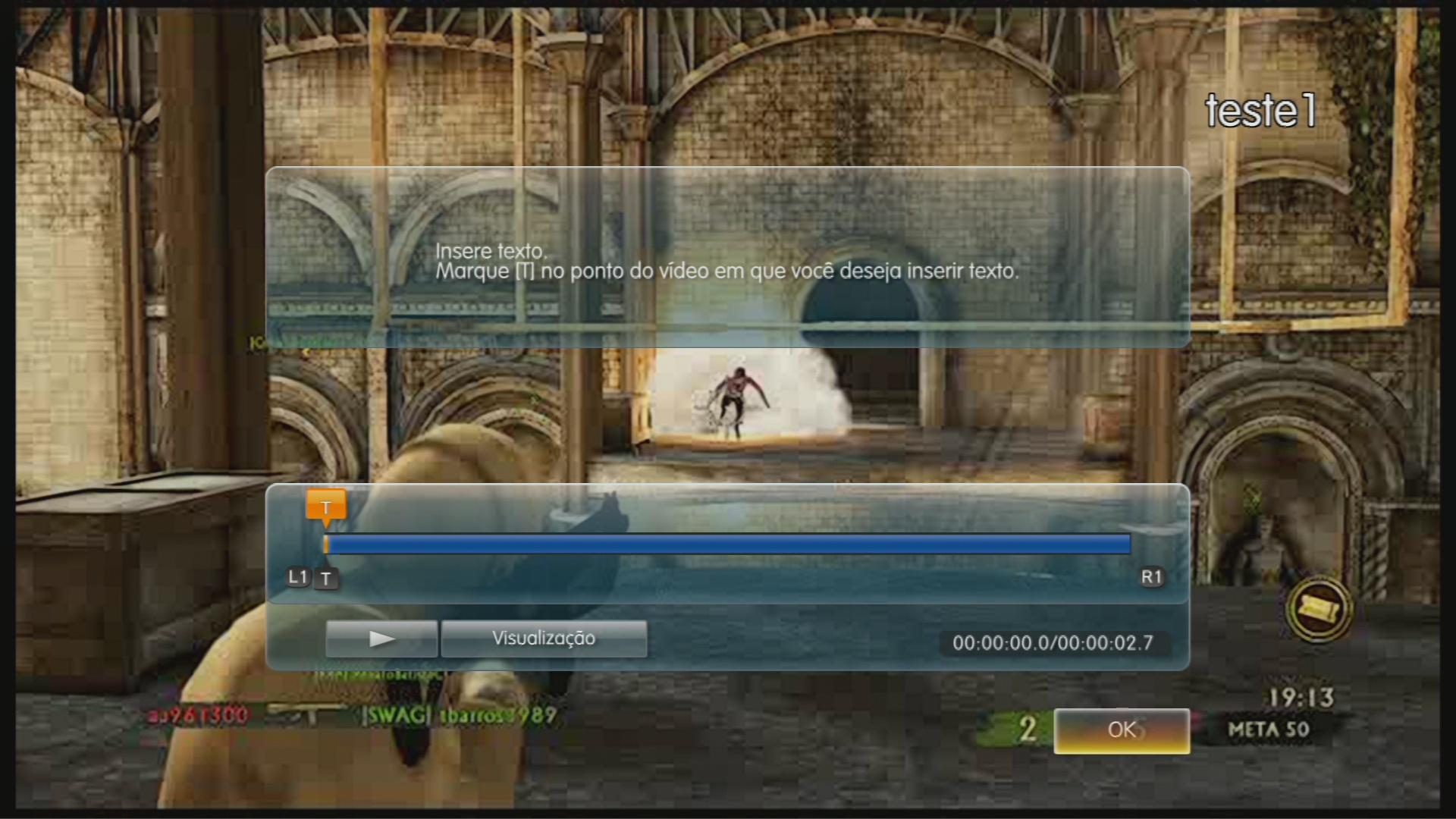 Também é possível inserir textos informativos em qualquer parte da tela. (Foto: Reprodução)