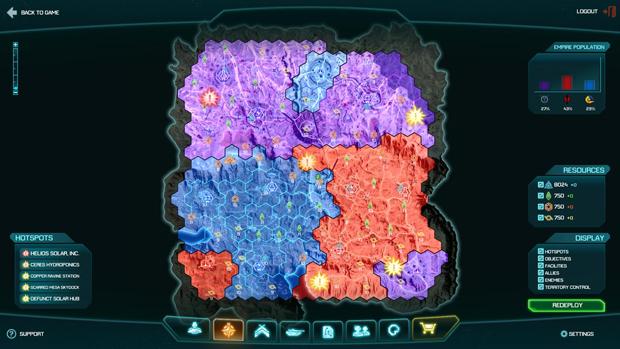 No Mapa de Planetside 2 podemos observar os Impérios separados por cor (Foto: Divulgação) (Foto: No Mapa de Planetside 2 podemos observar os Impérios separados por cor (Foto: Divulgação))