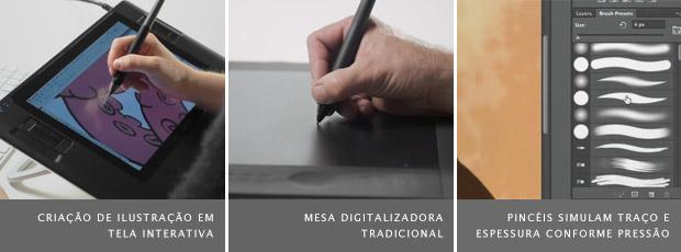Imagem de tela interativa, à esquerda, mesa digitalizadora, ao meio, e interface de programa de edição de imagens, à direia (Foto: Reprodução/Wacom)