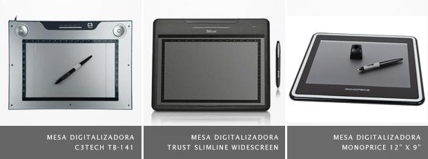 Imagens de mesas digitalizadoras C3Tech, à esquerda, Trust, ao meio, e Monoprice, à direita (Foto: Divulgação)