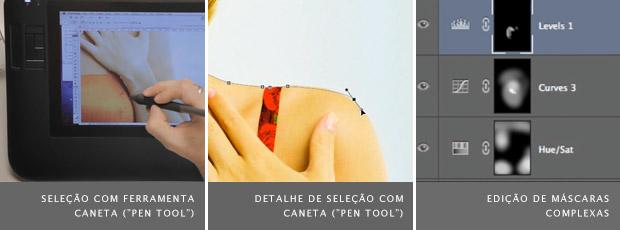 Interface do programa Photoshop exibindo seleção com ferramenta caneta, à esquerda e ao meio, e máscaras de ajuste, à direita (Foto: Reprodução/Wacom)