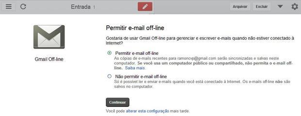 Permita o recurso G-mail off-line antes de continuar