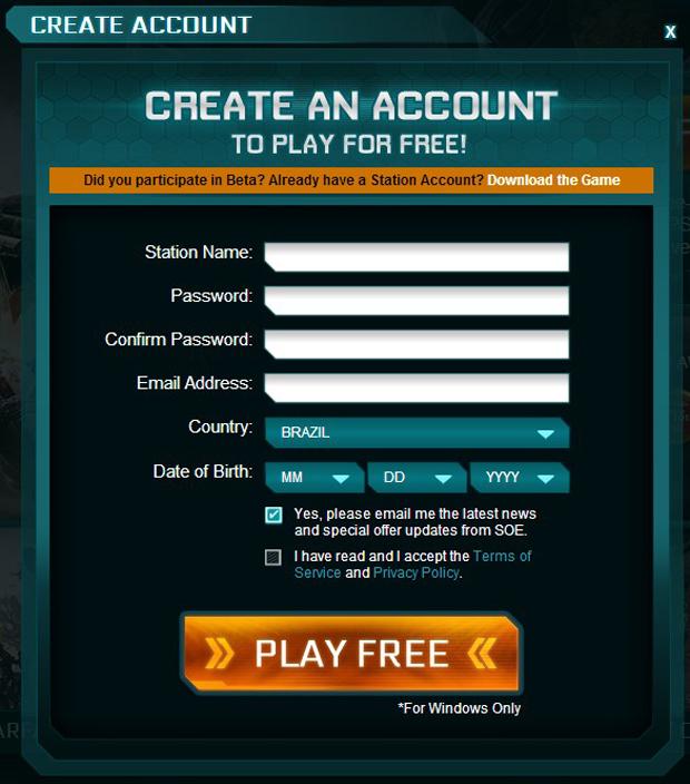 Criando uma conta no site oficial de Planetside 2 (Foto: Divulgação)