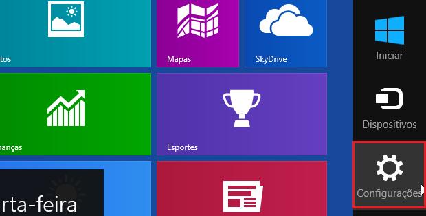 """Acessando a opção """"Configurações"""" no Windows 8 (Foto: reprodução/Edivaldo Brito)"""