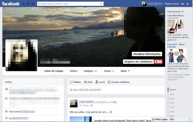 Linha do tempo no Facebook (Foto: Reprodução/Lívia Dâmaso)