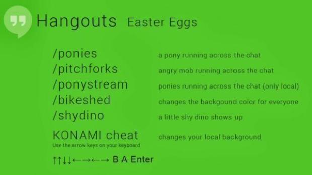 Códigos dos Easter Eggs do Hangouts (Foto: Reprodução/GoogleUserContent) (Foto: Códigos dos Easter Eggs do Hangouts (Foto: Reprodução/GoogleUserContent))
