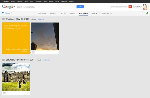 Todas as fotos inseridas pelos usuários estarão disponíveis na área de Backup. (Foto: Gisele Góes)