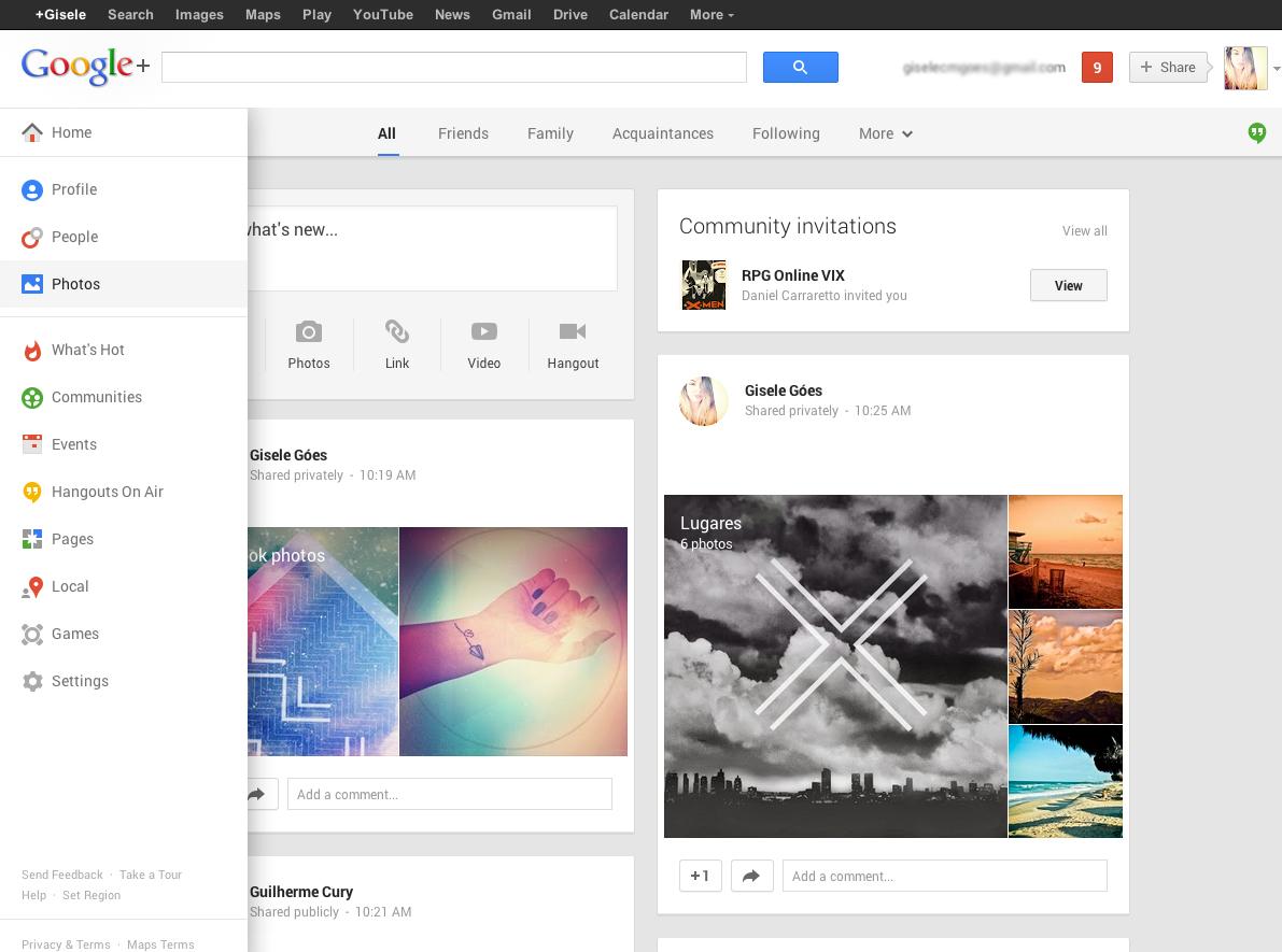 Opção Fotos no Menu da página inicial do Google+. (Foto: Gisele Góes)