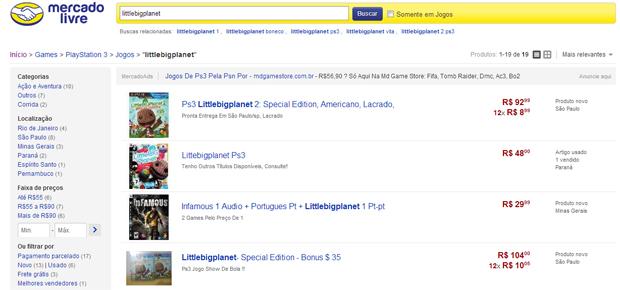 Você pode pesquisar diversos jogos e de diversos preços (Foto: Reprodução)