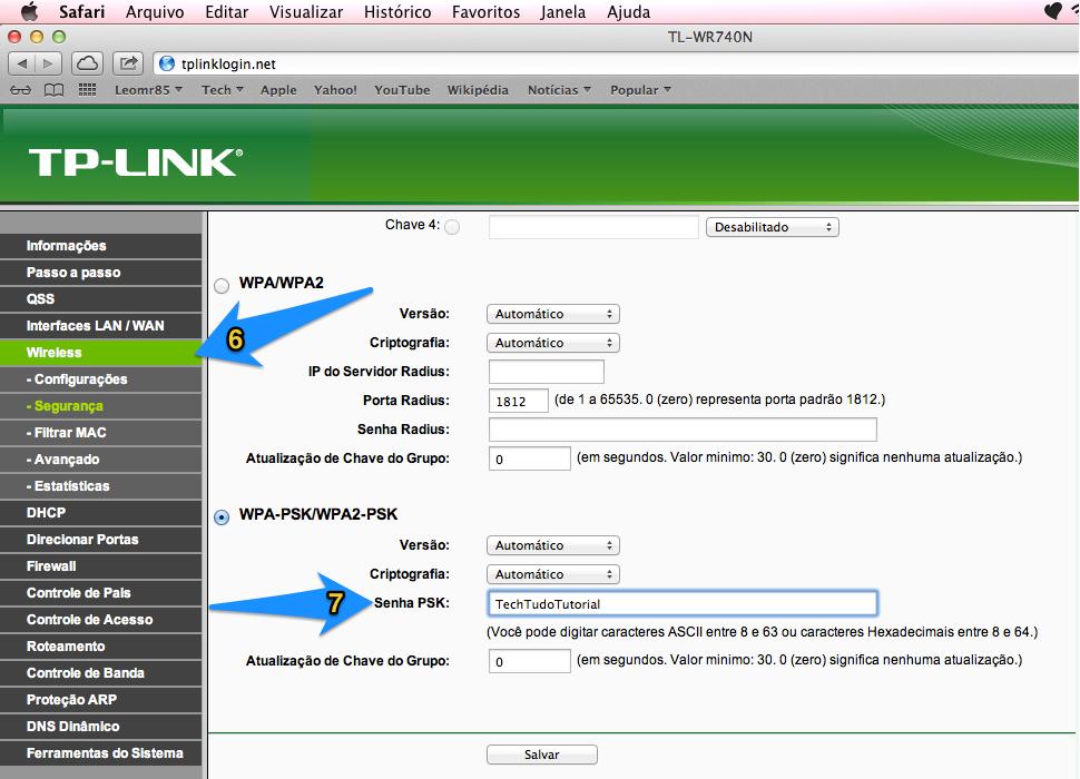 Configurando uma senha para o roteador TP-Link TL-WR740N (Foto: Reprodução/Leonardo Rodrigues)