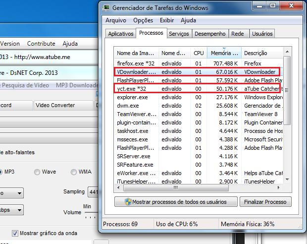 Comparando o consumo de memória dos dois programas (Foto: Reprodução/Edivaldo Brito)
