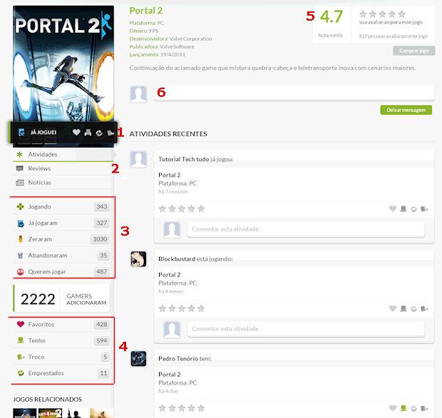 A página individual de cada jogo oferece várias opções (Foto: Reprodução/Techtudo)