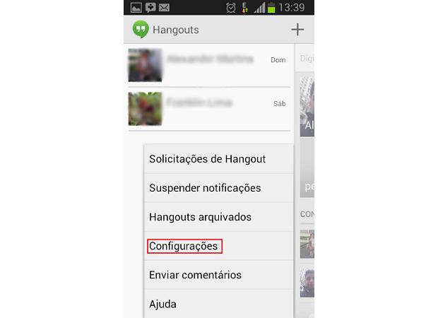 Acesse as configurações do Hangout (Foto: Reprodução/Thiago Bittencourt)