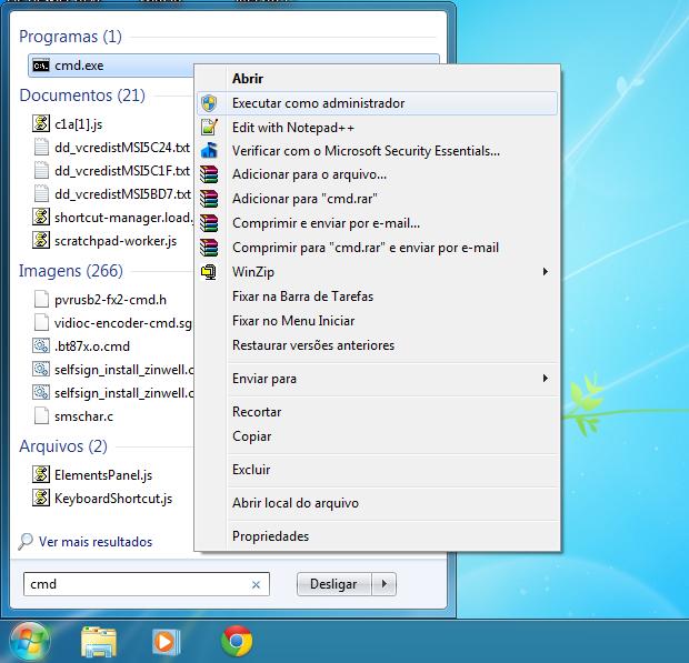 Executando o prompt de comando do Windows 7 como administrador (Foto: Reprodução/Edivaldo Brito)